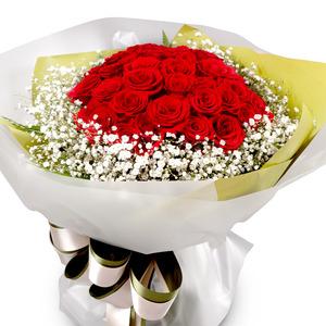 빨강 장미 안개 꽃다발