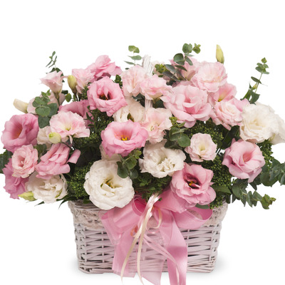 핑크 리시안 꽃바구니