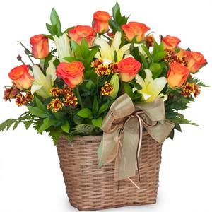 주황 장미 꽃바구니