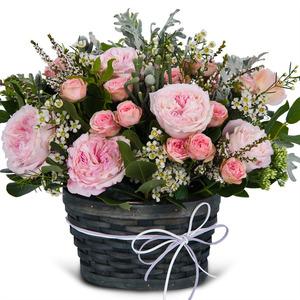파스텔 핑크 꽃바구니