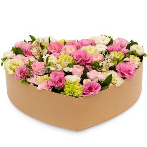 핑크 카네이션 하트 박스